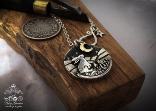 Moon Gazing hare necklace moon gazing hare necklace handcrafted and recycled from three silver shilling coins all over 100 years old