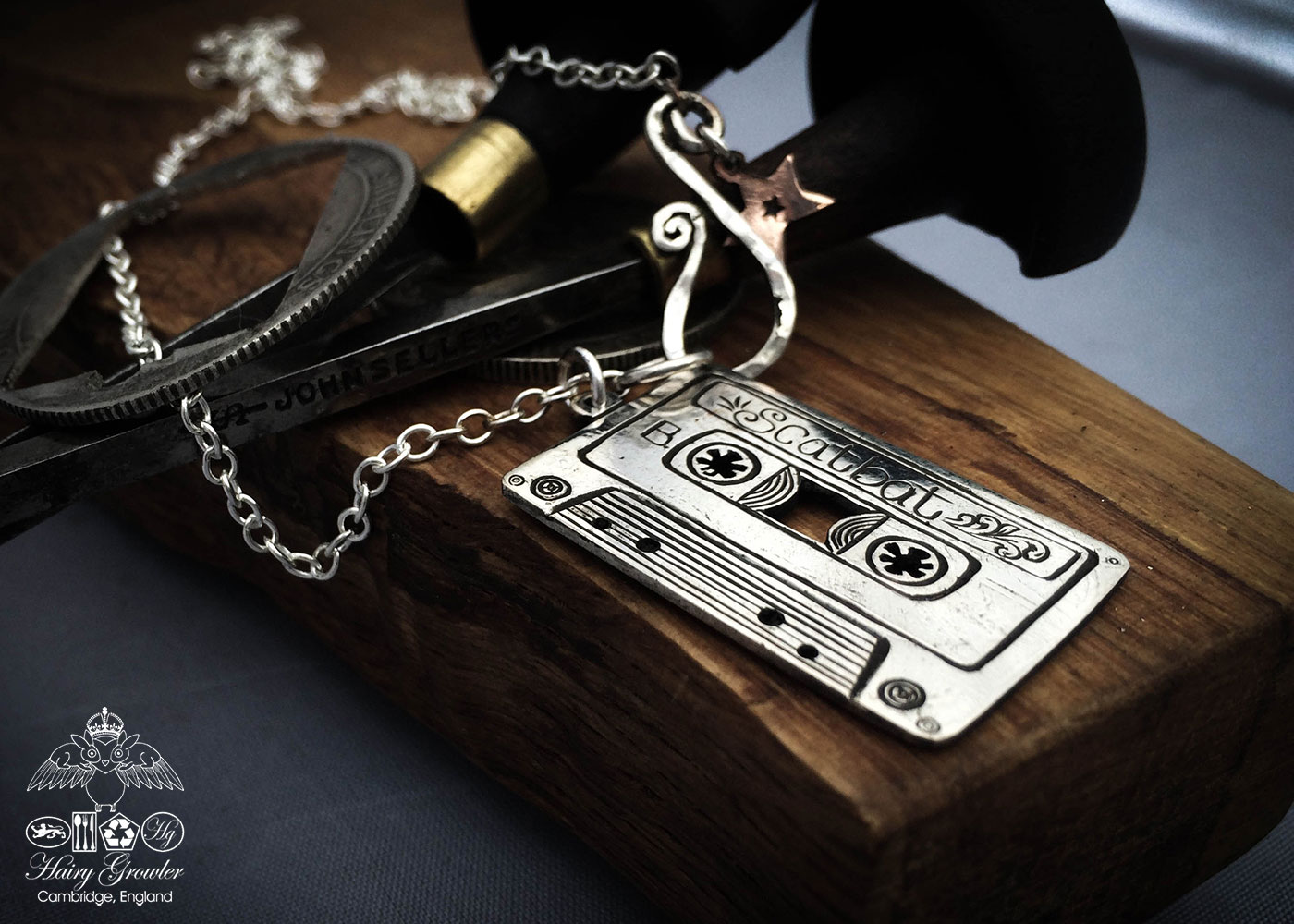 mix-tape necklace - handmade and recycled using silver florins
