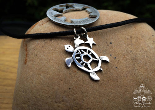 Handcrafted and recycled silver shilling Turtle necklace