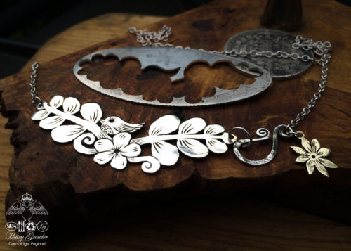 Handmade and upcycled sterling silver 'Very sweet tweet' necklace inspired by Orla Kiely