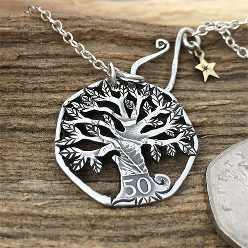 handcrafted and repurposed 50p coin necklace pendant
