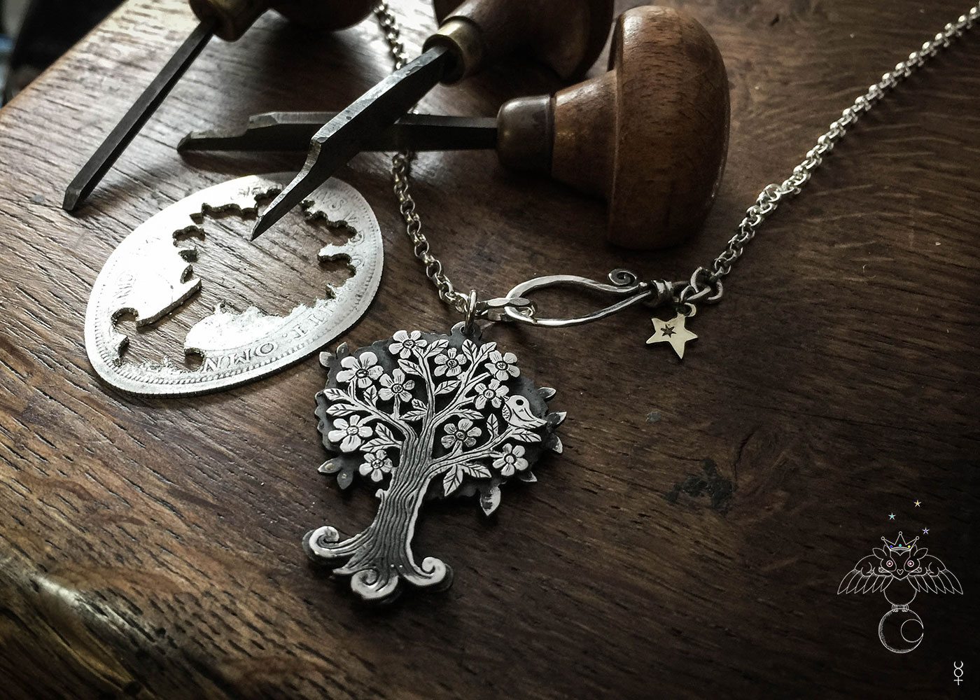 Handmade and upcycled Victorian silver coin magical nature Tree necklace