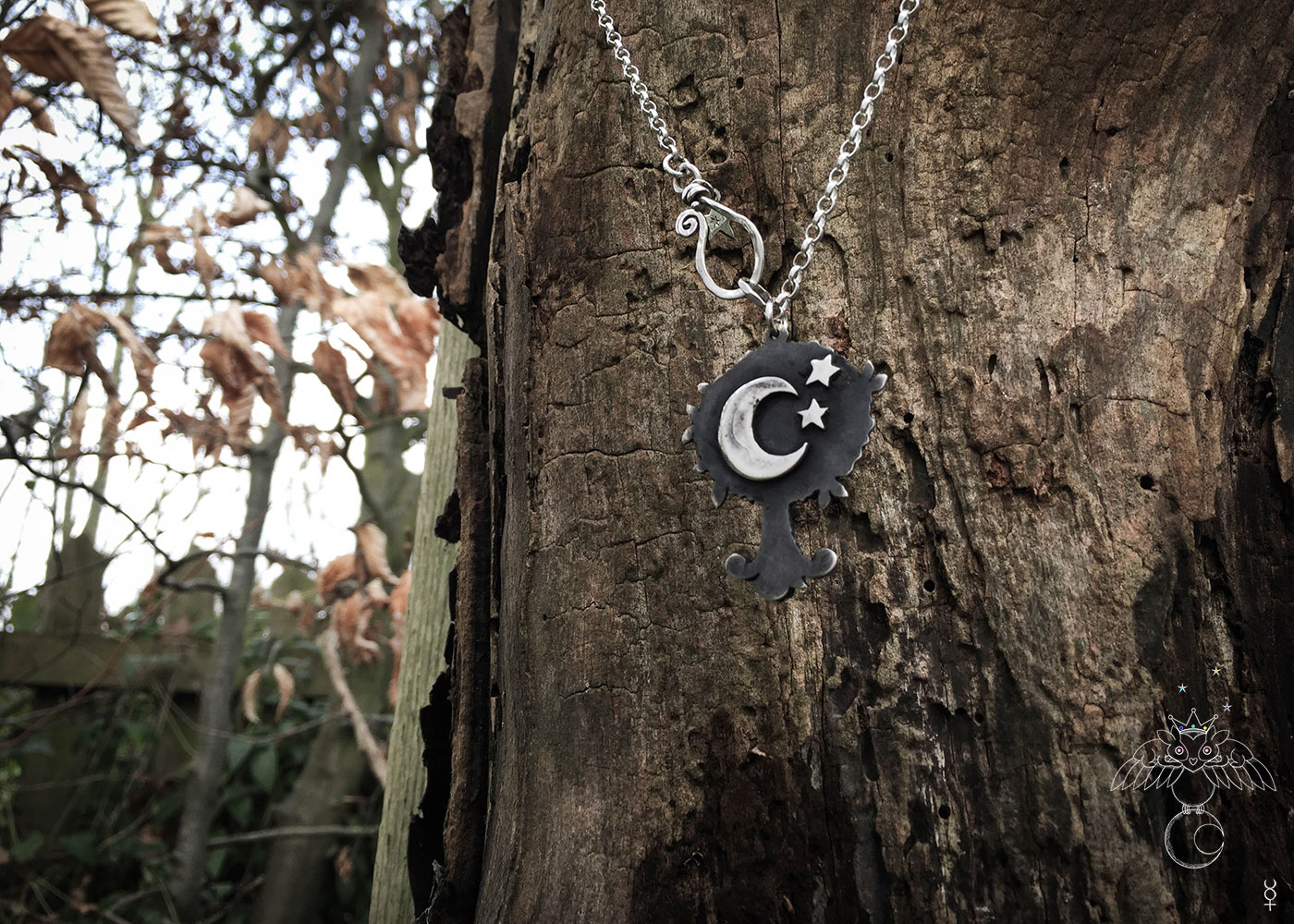 Handcrafted and recycled Victorian silver coin magical moon Tree necklace