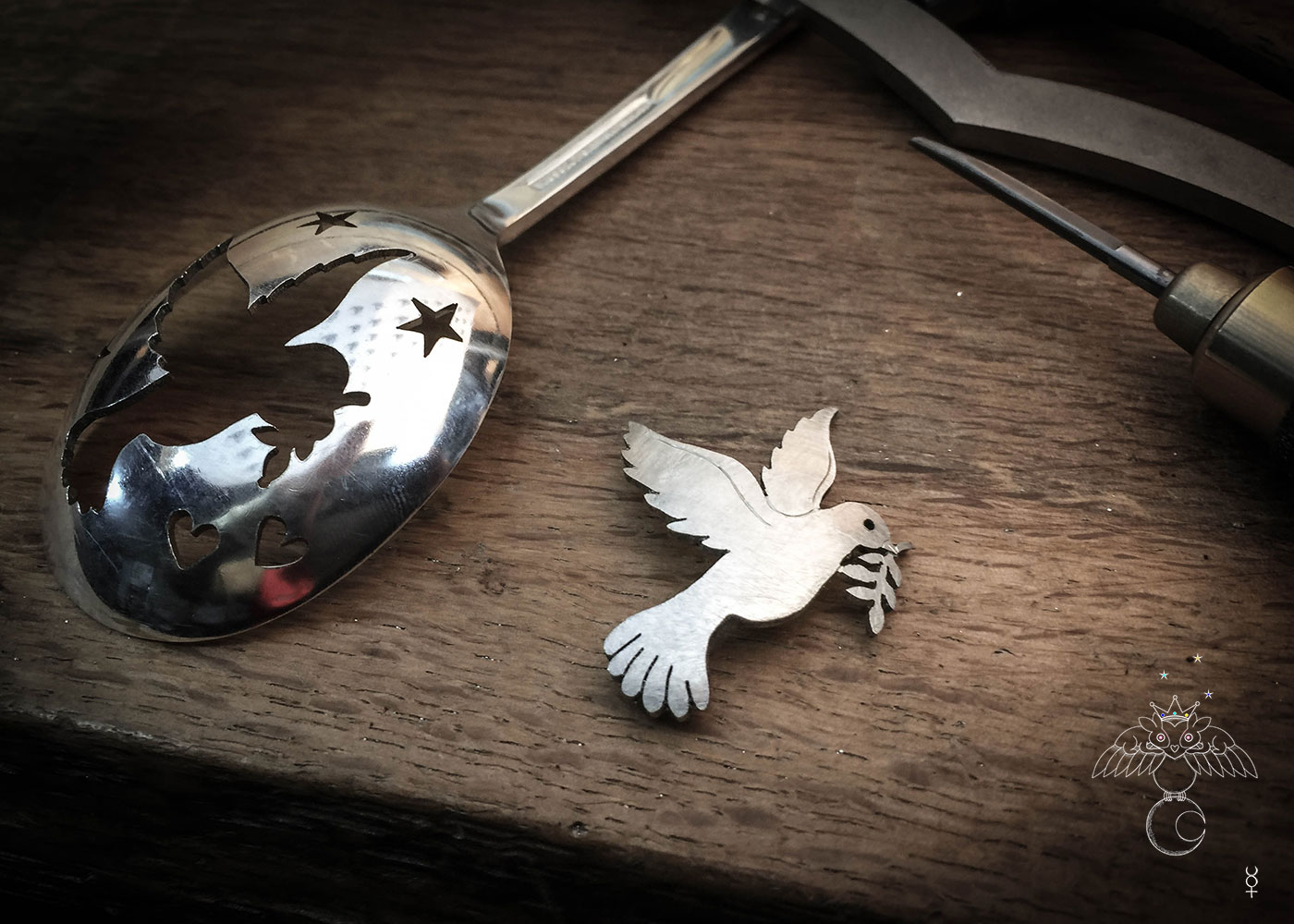 Peace dove jewellery - handmade and recycled antique spoon brooch