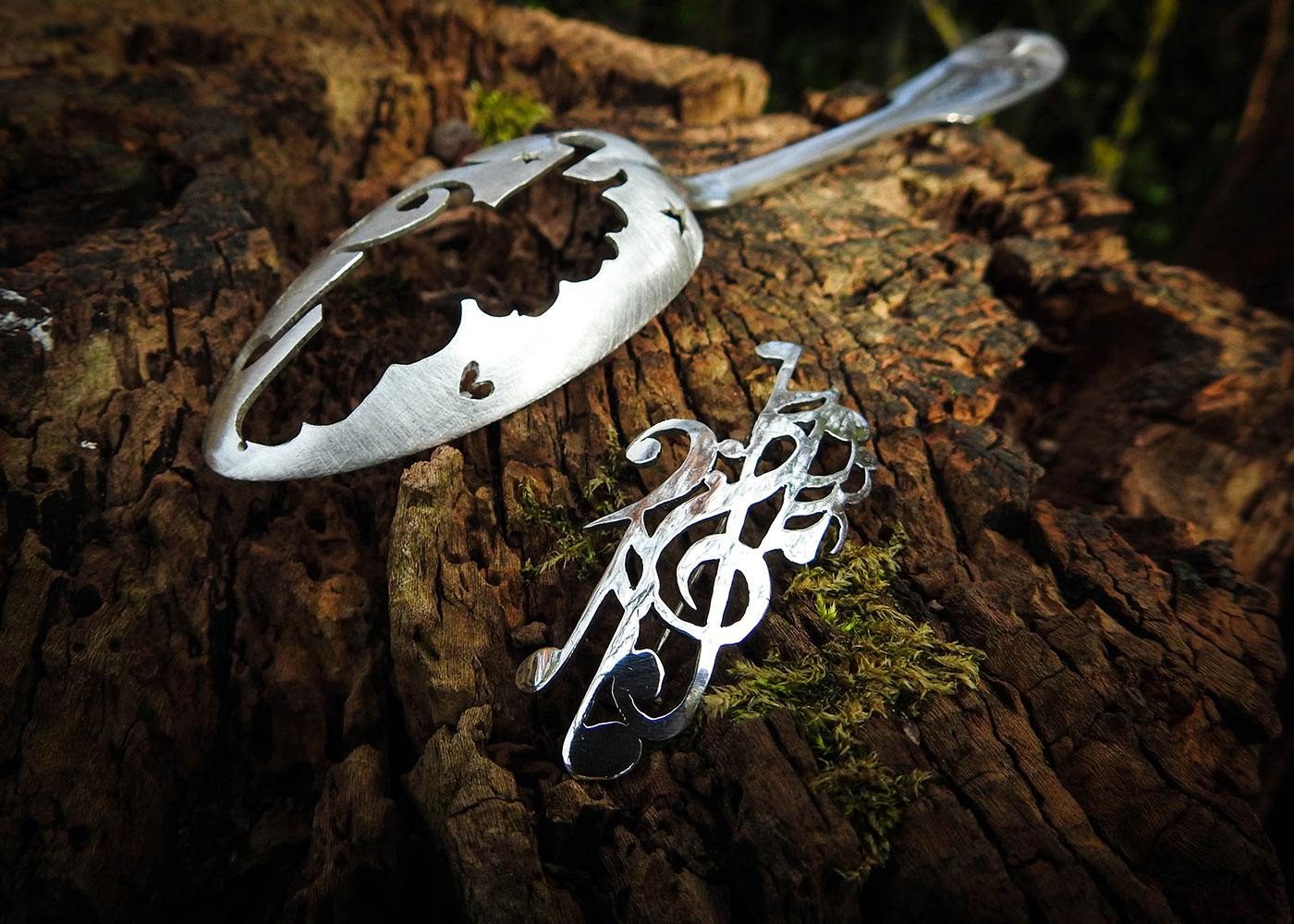Recycled spoon jewellery - Musical composition brooch