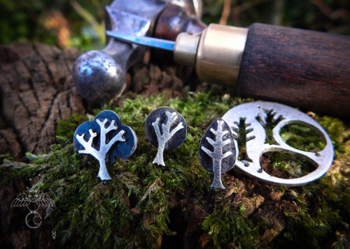 Tree earrings - handmade and recycled sterling silver shilling coins.