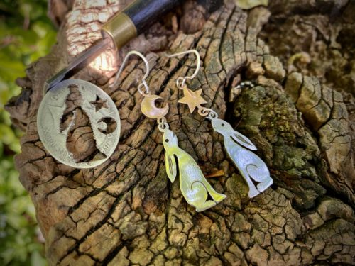 Moon Gazing Hare earrings - Recycled sterling silver shilling coins