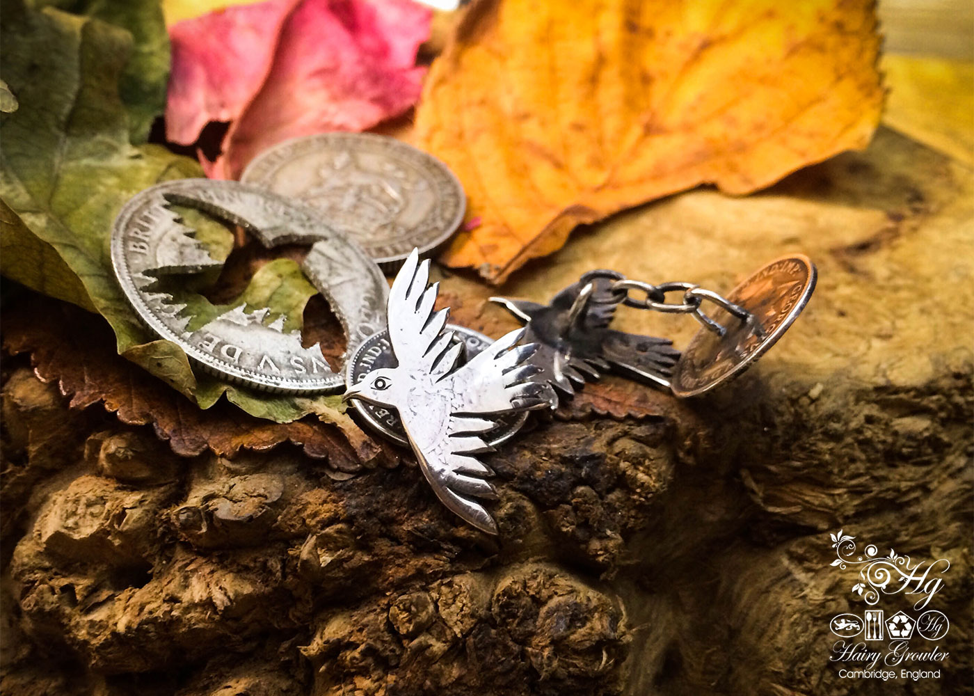 raven and bird cufflinks handcrafted and recycled from sterling silver shillings and threepence coins