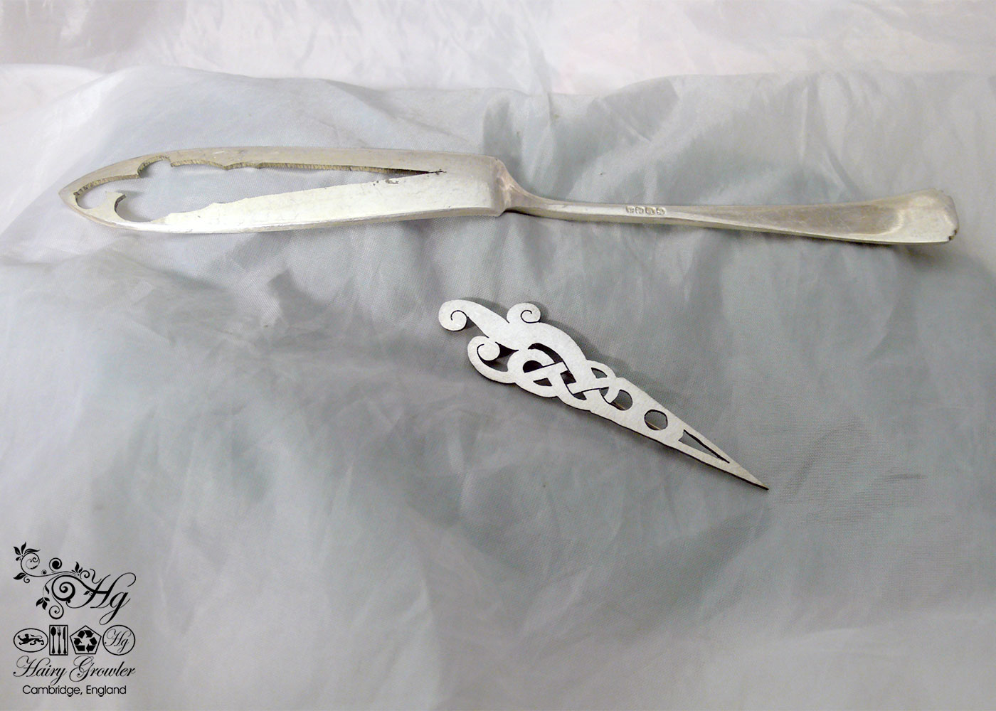 handcrafted and recycled antique fish knife celtic knot brooch