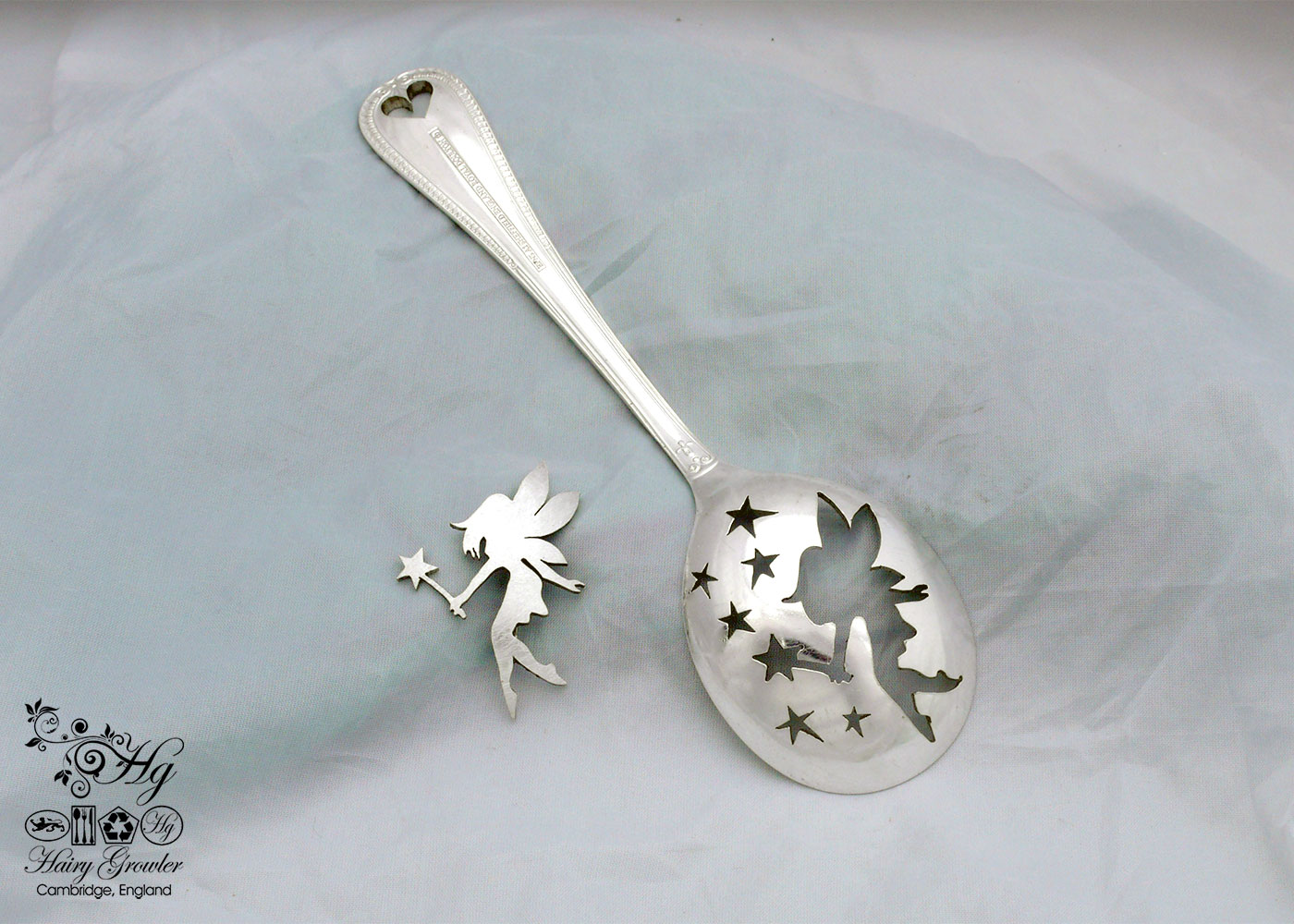 handmade and recycled spoon fairy brooch