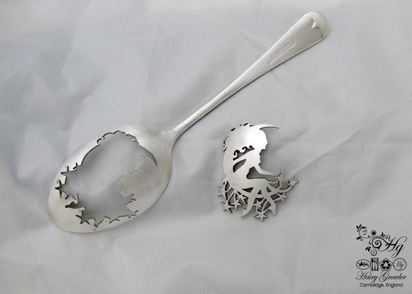 handcrafted and upcycled spoon star and moon girl brooch