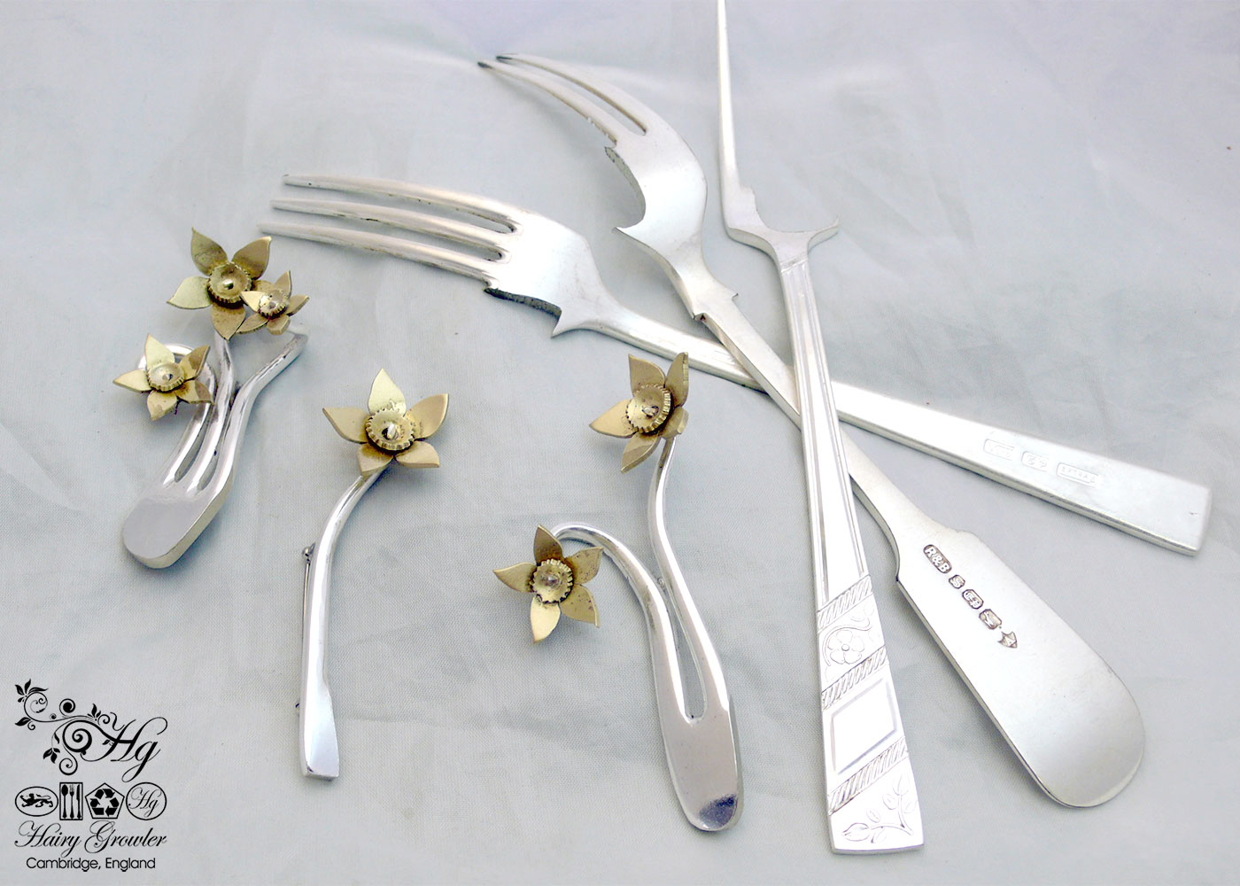 handcrafted and recycled daffodil flower fork brooch
