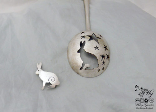 handcrafted and recycled spoon magical hare brooch