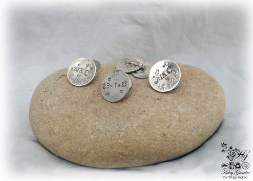 Hairy Growler Jewellery - Star Crossed collection. Lucky sixpence cufflinks handcrafted and recycled from sterling silver sixpences and threepence coins