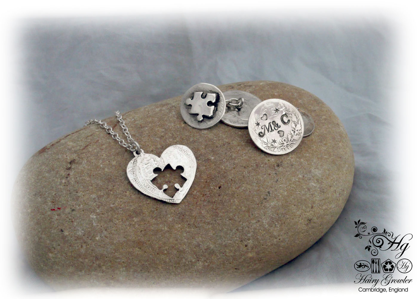 Hairy Growler Jewellery - Lucky sixpence 'piece of my heart' necklace and cufflinks handcrafted and recycled from sterling silver shillings, sixpences and threepence coins