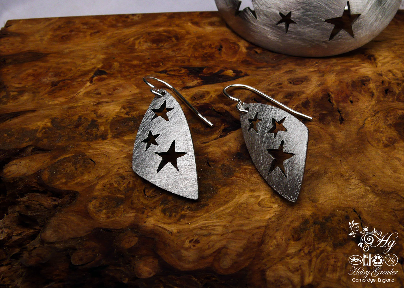 handcrafted and recycled spoon star earrings