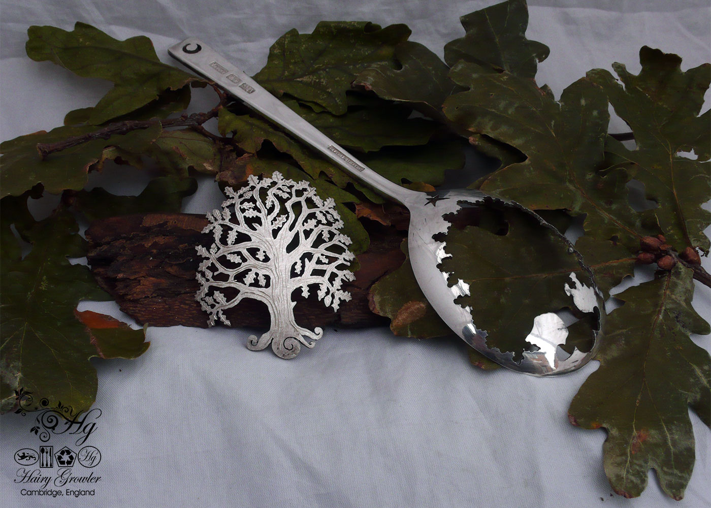 handcrafted and recycled spoon oak tree brooch