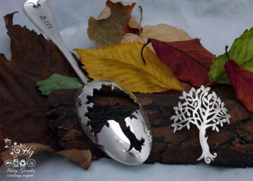 handcrafted and upcycled silver spoon autumn tree brooch