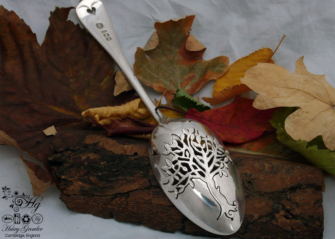 handcrafted and recycled silver spoon autumn tree brooch