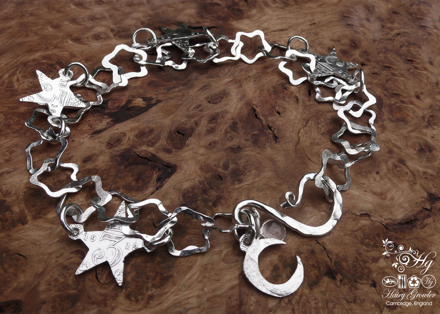 star bracelet individually handcrafted and recycled from an old Victorian silver coins