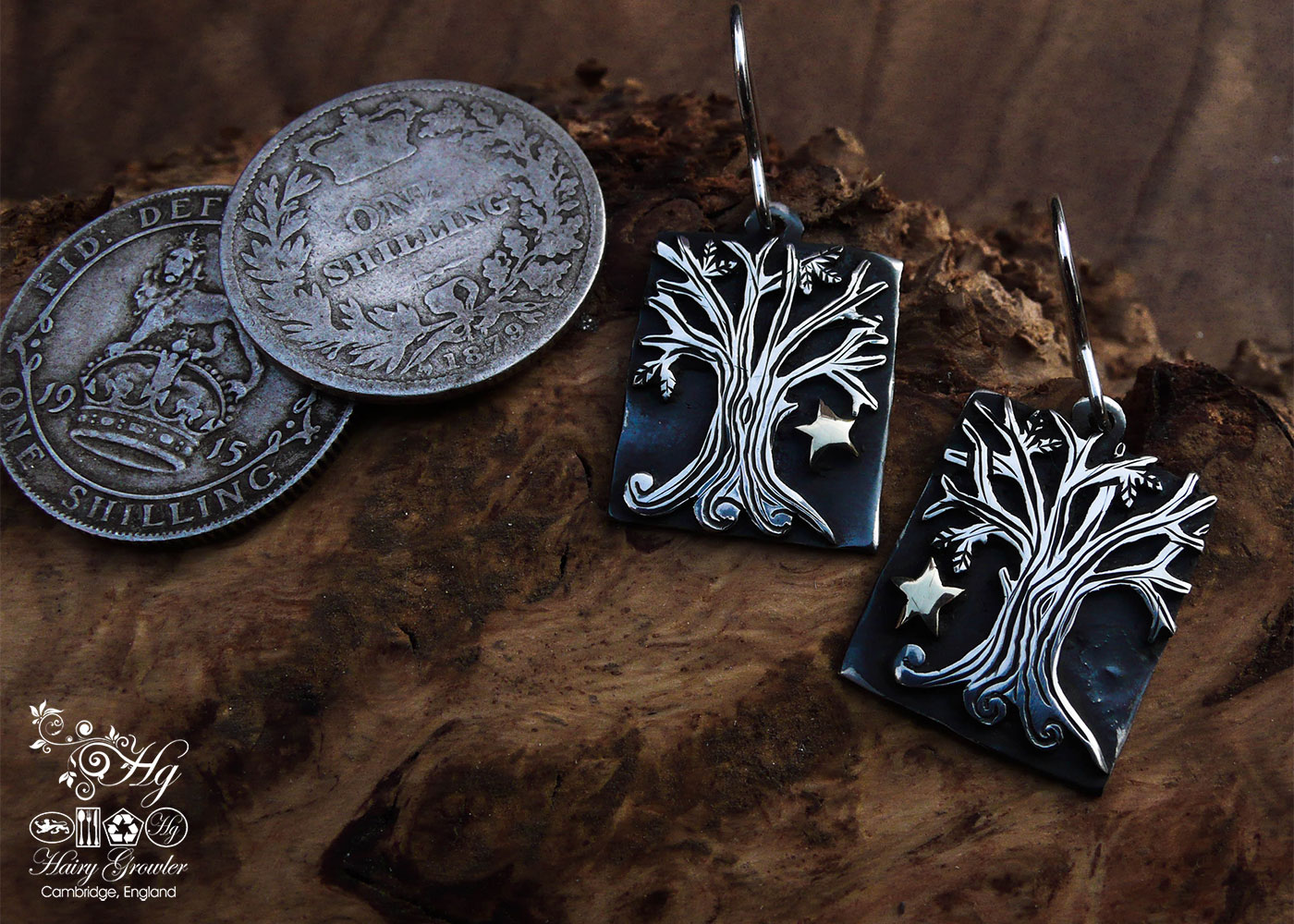 Autumn tree earrings - handmade and Recycled sterling silver shillings