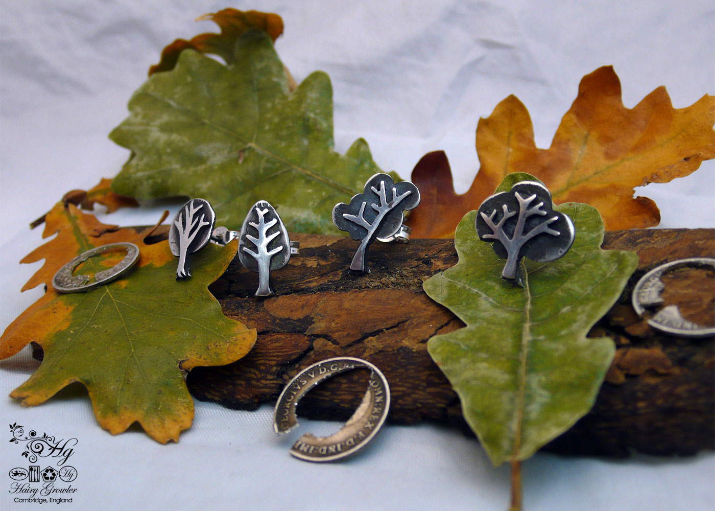 handcrafted and upcycled silver Georgian threepence tree stud earrings made in Cambridge