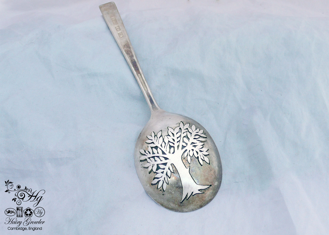 handcrafted and recycled spoon summer tree brooch