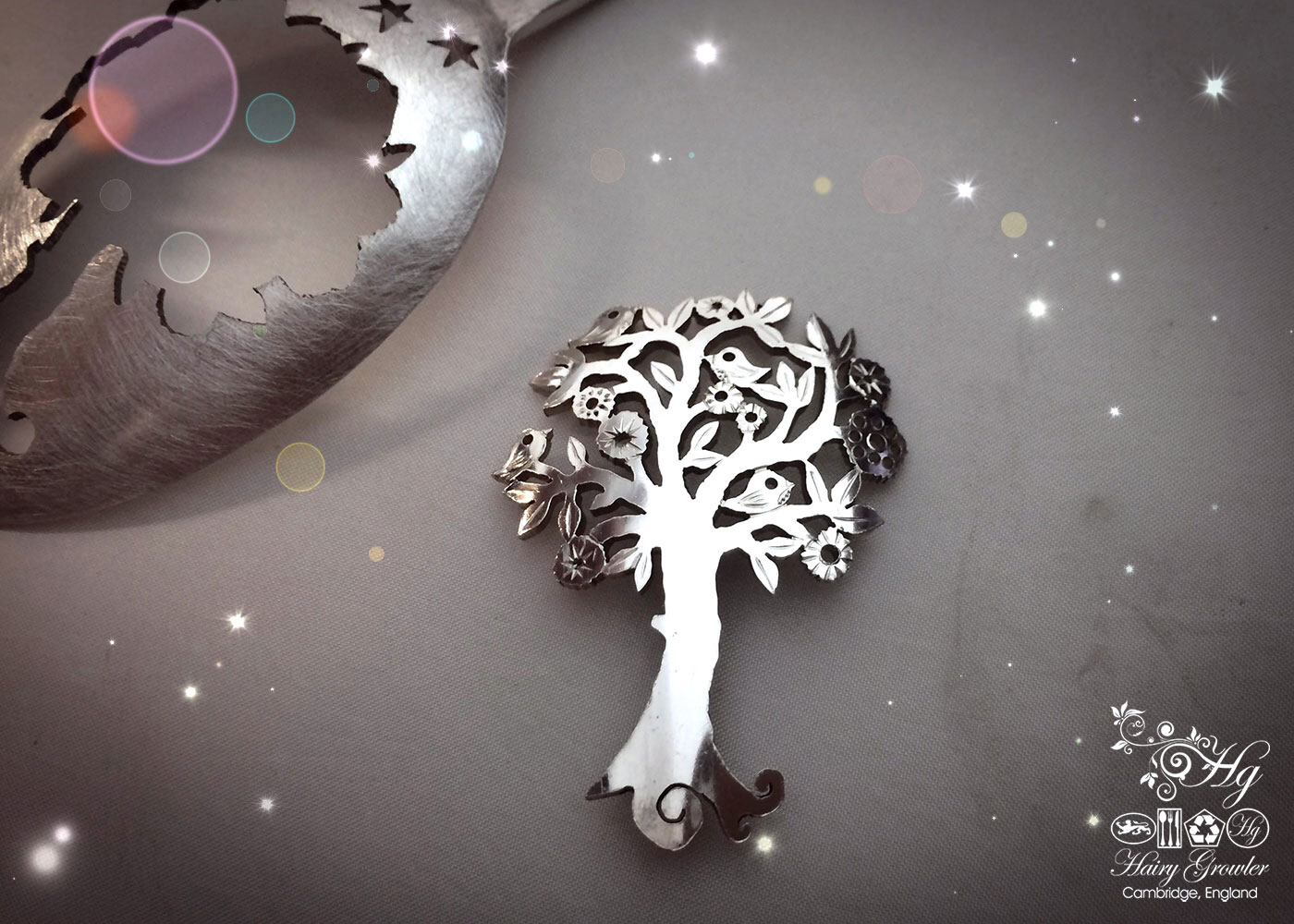 handmade and upcycled spoon bird song tree brooch