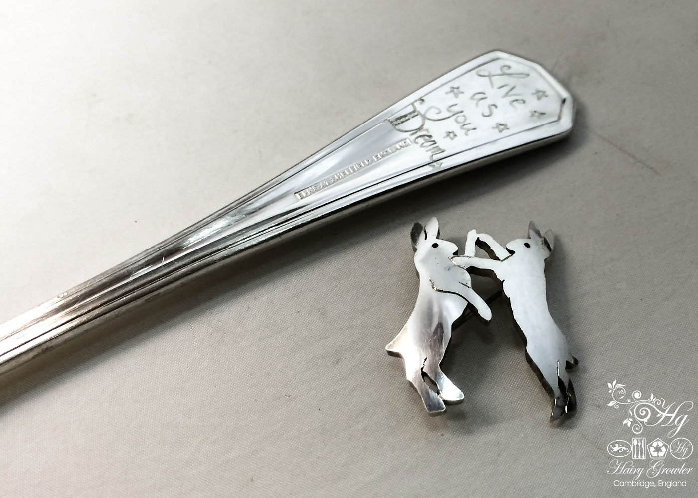 handcrafted and recycled spoon boxing-hare brooch