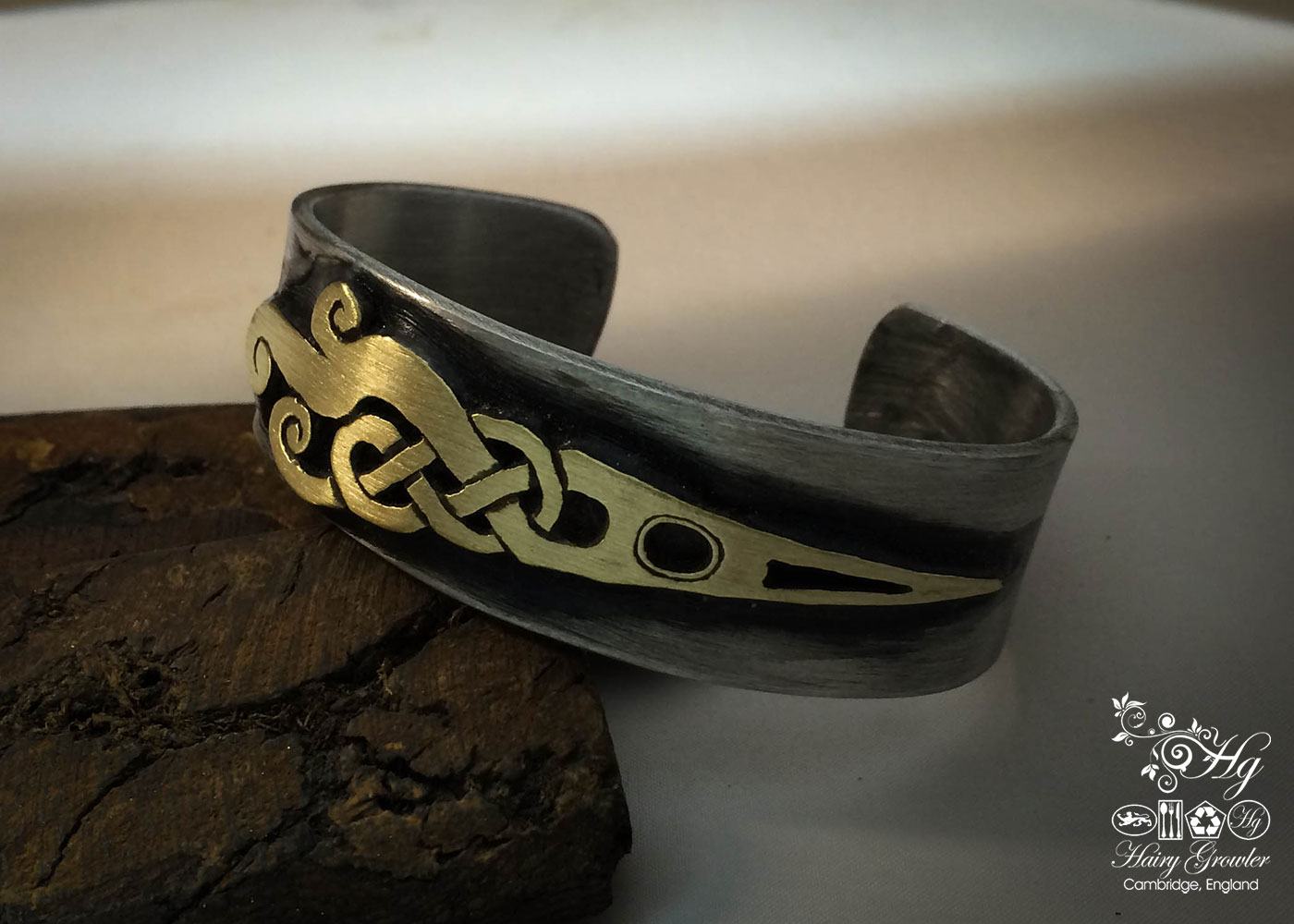 Handcrafted and repurposed celtic kuff bangle