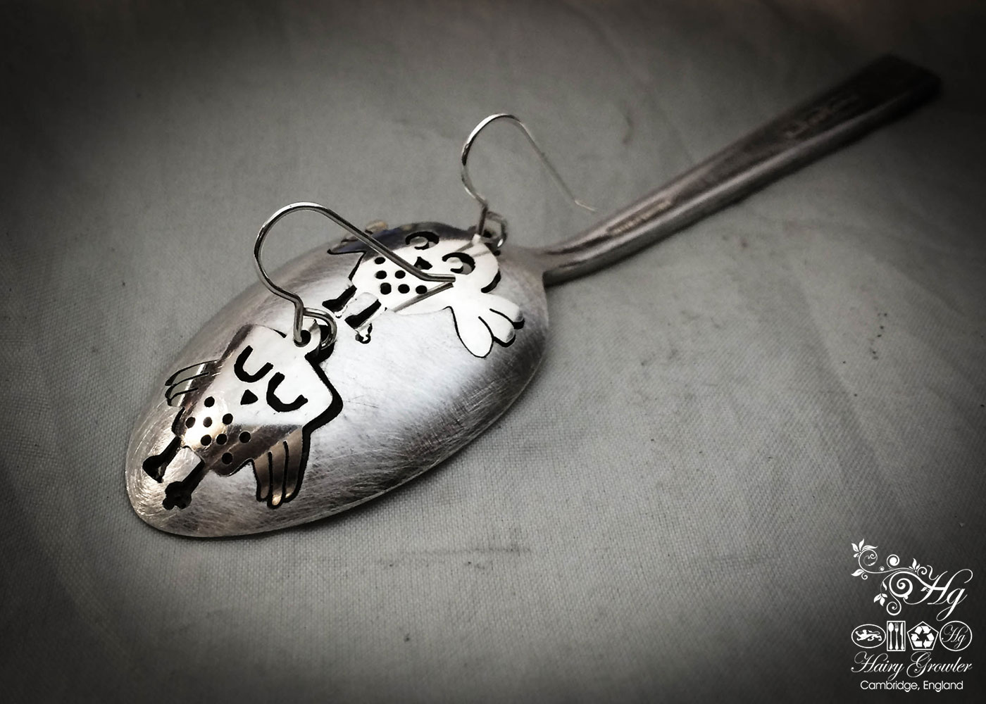 handmade and upcycled vintage flatware spoon owl earrings