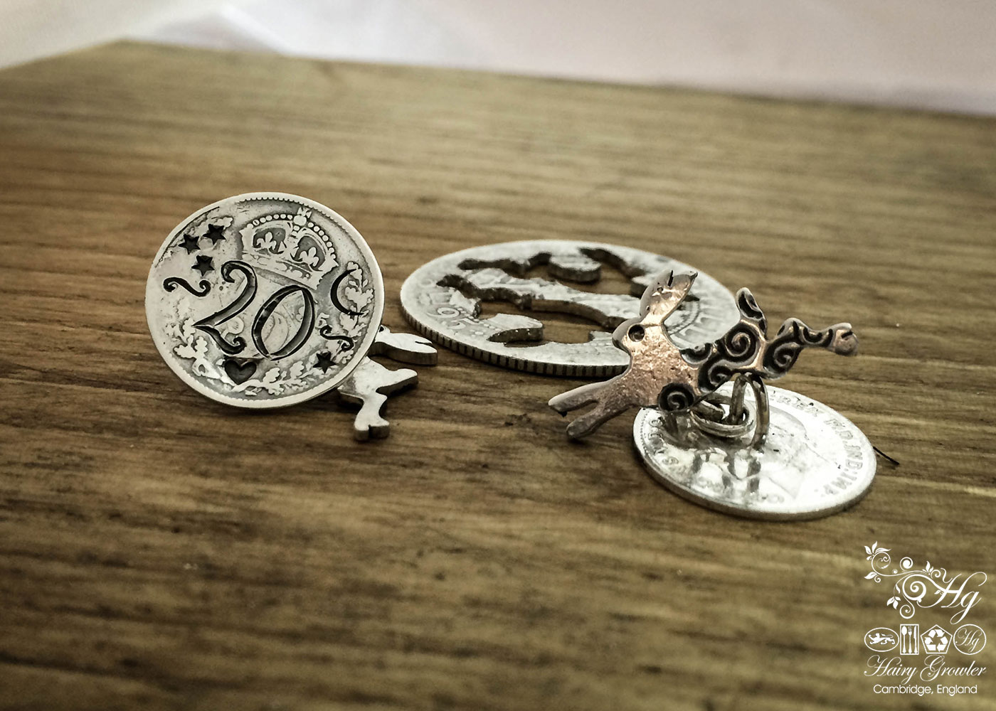 Magical leaping hare cufflinks handmade and upcycled from sterling silver shillings and threepence coins