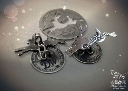 Magical leaping hare cufflinks handcrafted and recycled from sterling silver shillings and threepence coins