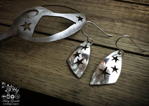 handmade and repurposed spoon star earrings
