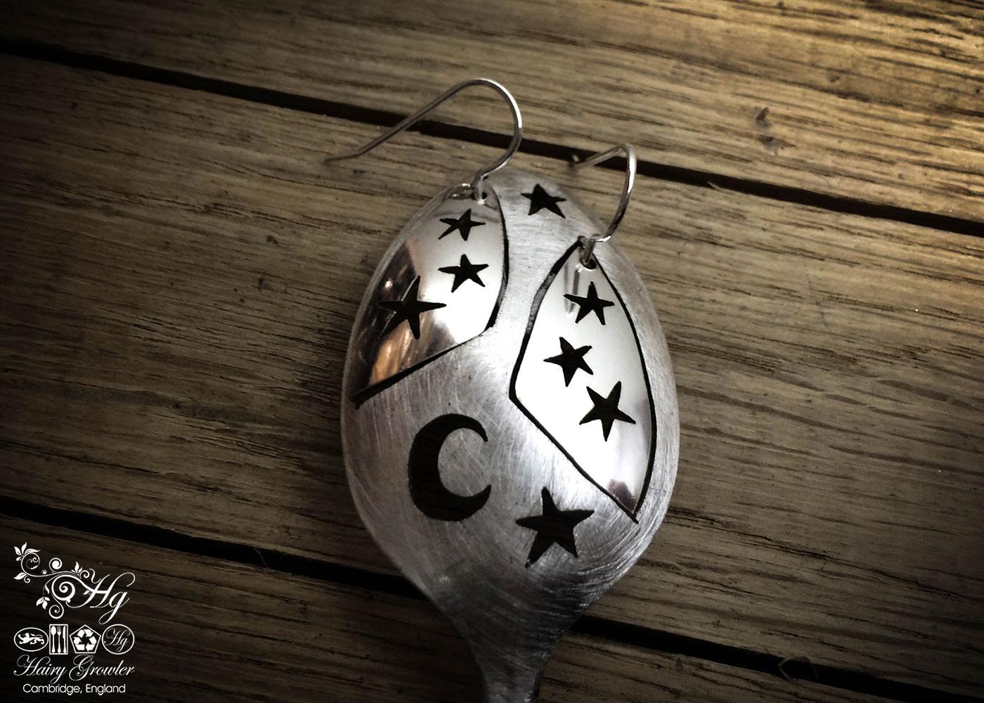 handmade and repurposed spoon star earrings