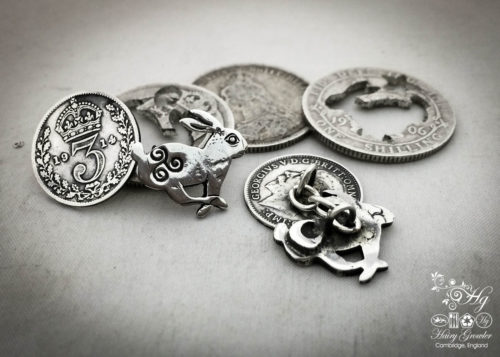 March hare cufflinks handcrafted and recycled from sterling silver shillings and threepence coins