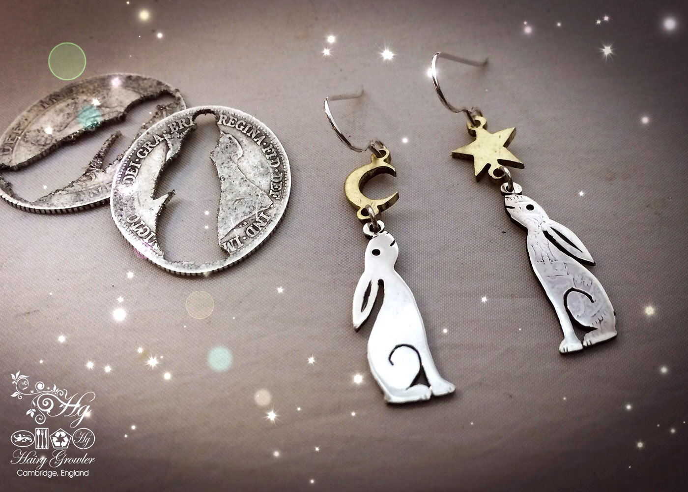 handmade and recycled silver Georgian shilling hare earrings made in Cambridge