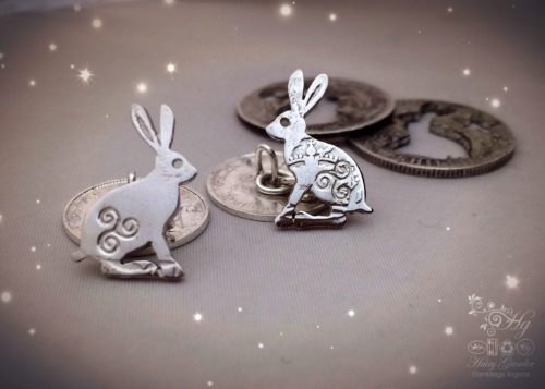 hare cufflinks handcrafted and recycled from sterling silver shillings and threepence coins