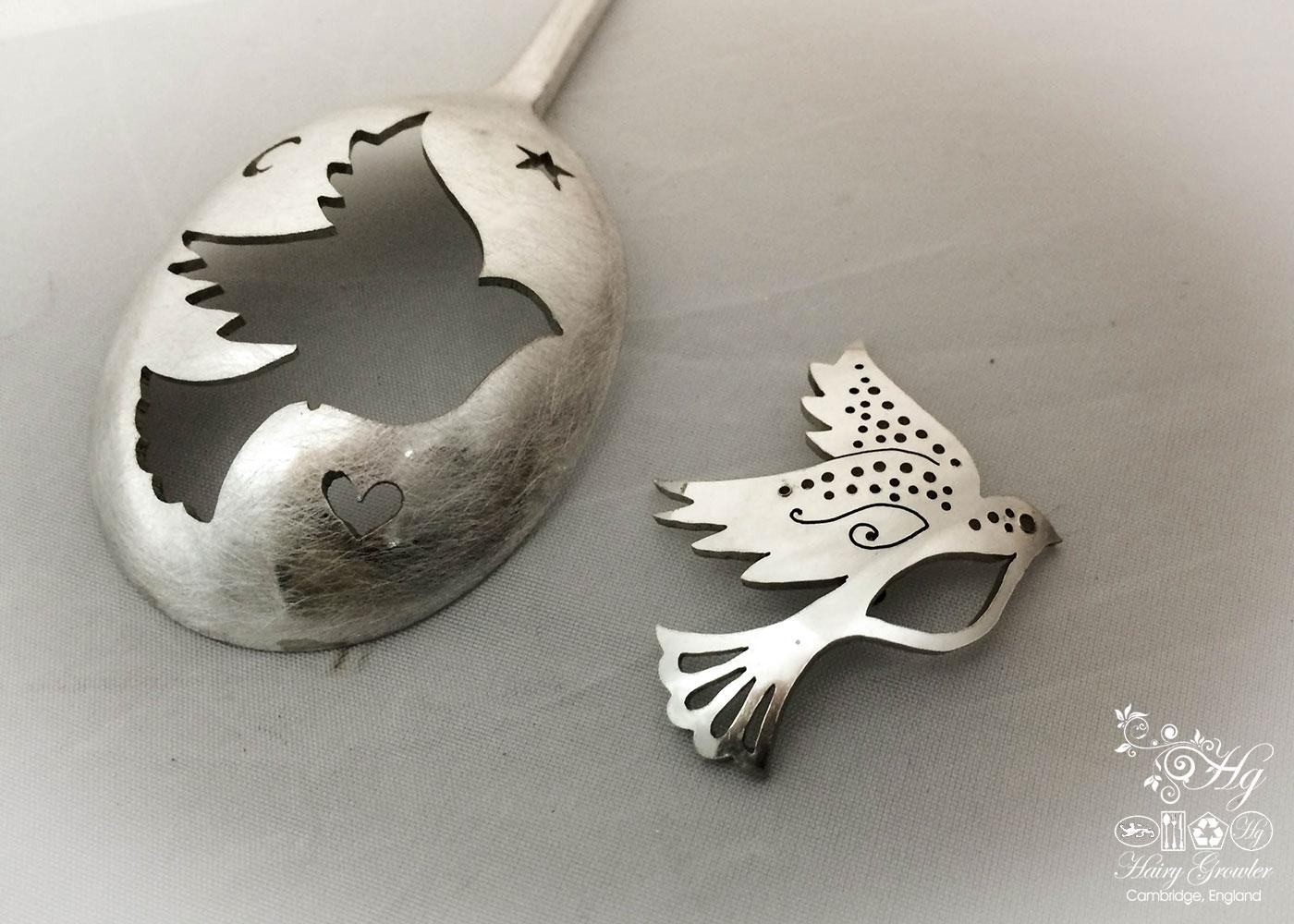 handmade and repurposed peace dove spoon brooch jewellery