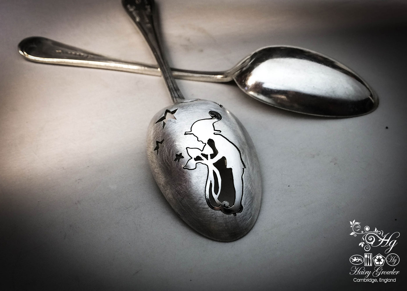 handcrafted and upcycled spoon pixie brooch