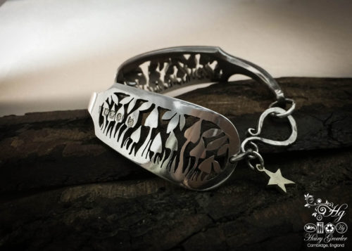 psilocybin mushroom bracelet handmade and upcycled from an old silver cutlery