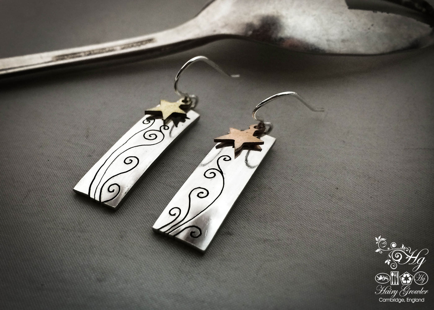 handcrafted and recycled spoon star-dust earrings