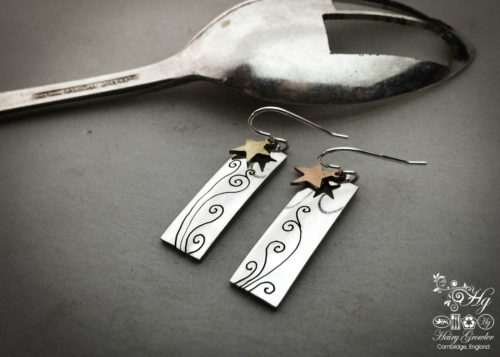 handmade and repurposed spoon star-dust earrings