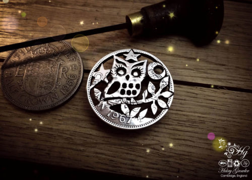 Handcrafted and recycled owl coin brooch