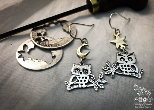 handmade and recycled silver coin owl earrings