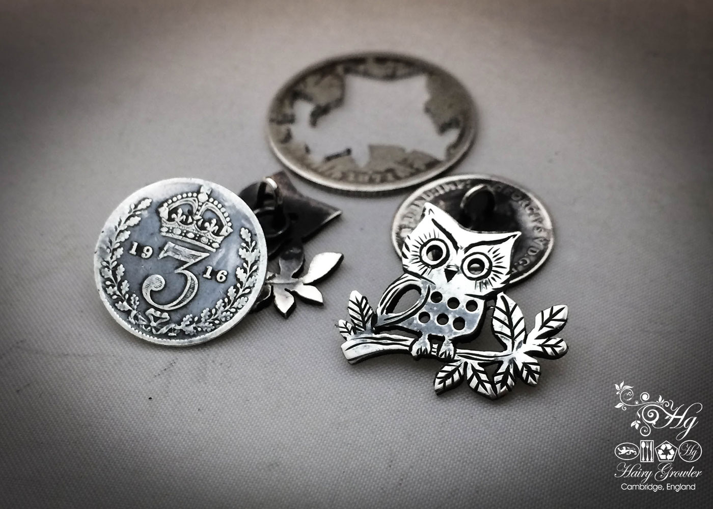 owl cufflinks handcrafted and recycled from sterling silver shillings and threepence coins
