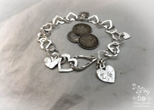 heart bracelet individually handcrafted and recycled from an old Victorian silver coins