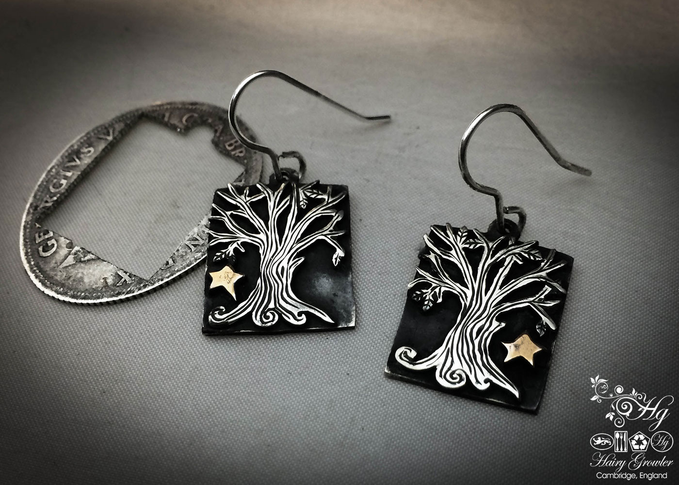 handcrafted and recycled silver Georgian shilling tree-of-life earrings made in Cambridge
