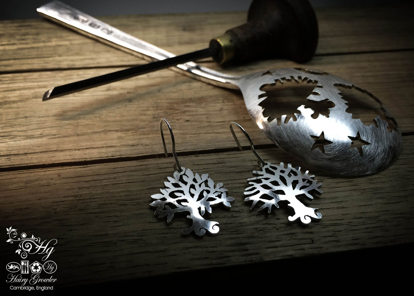 handcrafted and recycled antique spoon tree of life earrings