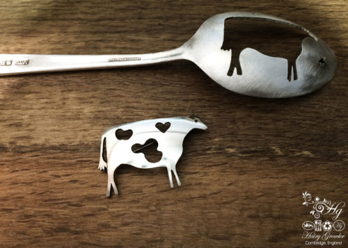 handmade and upcycled spoon Glastonbury cow brooch